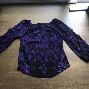 NWOT purple floral blouse size M